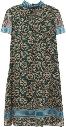 Anna Sui Printed Silik-chiffon Mini Dress