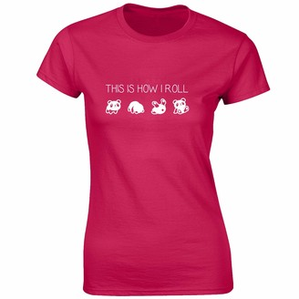 JLB Print This is How I Roll Panda Novelty Premium Quality Fitted T-Shirt Top for Women and Teens - Pink / 10-12