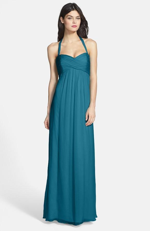 Amsale Chiffon Halter Gown