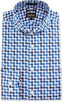 Neiman Marcus Trim-Fit Regular-Finish Check Dress Shirt, Blue/Black