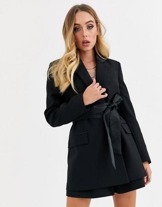 Asos Design DESIGN wrap belted tux suit blazer-Black
