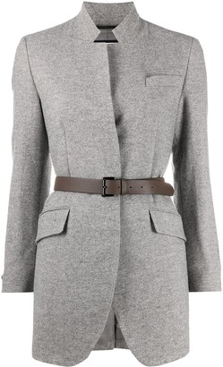 Peserico Belted High-Collar Blazer