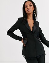 4th + Reckless satin trim blazer with lace inserts in black