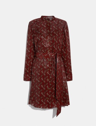 Coach Lunar New Year Horse And Carriage Print Pleated Shirt Dress