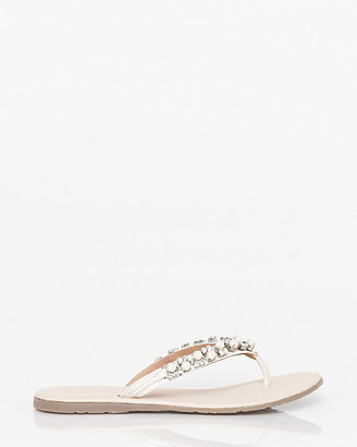 Le Château Jewel Embellished Leather Thong Sandal