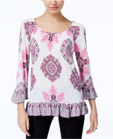 INC International Concepts Petite Printed Flounce Peasant Top, Created for Macy's