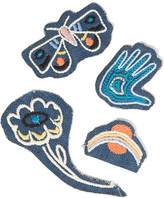 MiH Jeans Acid Trip Set Of Four Embroidered Cotton Patches - White