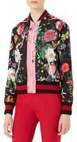Gucci Flora Snake-Print Silk Bomber Jacket, Multicolor