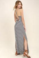 O'Neill Como Navy Blue and Cream Striped Maxi Dress