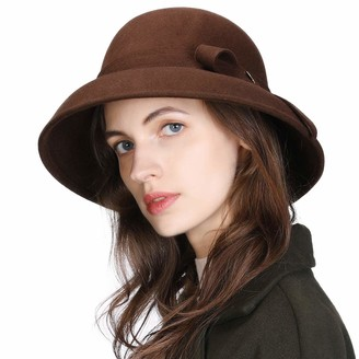 Comhats 100% Wool Felt Cloche Hat for Women Winter Hat Ladies 1920s Vintage Derby Church Bowler Bucket Hat Warm Soft Crushable Fashion Medium Brown Adjuatable 56-59CM