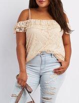 Charlotte Russe Plus Size Lace Cold Shoulder Top