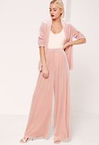 Missguided Velvet Wide Leg Trousers Pink