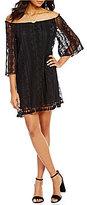 BB Dakota Denney Embroidered Mesh Off-the-Shoulder Fringe Dress