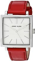 Anne Klein Women's Quartz Metal and Leather Dress Watch, Color:Red (Model: AK/2737SVRD)