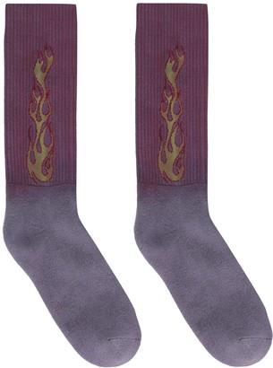 Palm Angels Flames Cotton Blend Socks