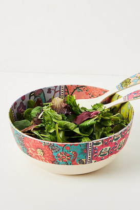 Anthropologie Blockprint Bamboo Melamine Serving Bowl By in Assorted Size PASTA