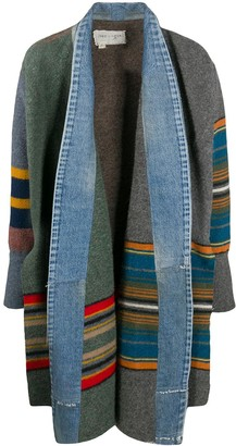 Greg Lauren Striped Denim-Trimmed Coat
