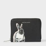 Paul Smith Women's Small Black 'Lucky Rabbit' Print Leather Zip-Around Purse