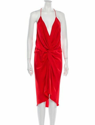 Acler V-Neck Knee-Length Dress w/ Tags Orange