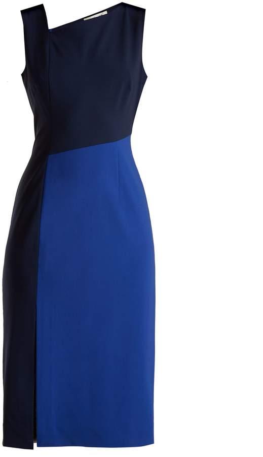 Diane von Furstenberg Asymmetric-panelled wool-blend dress
