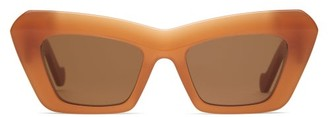 Loewe Anagram-logo Cat-eye Acetate Sunglasses - Orange