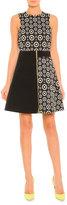 Fausto Puglisi Colorblock Circle-Print Zip Dress, Black