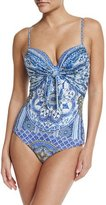 Camilla Tie-Front Overlay One-Piece Swimsuit, It Was All a Dream