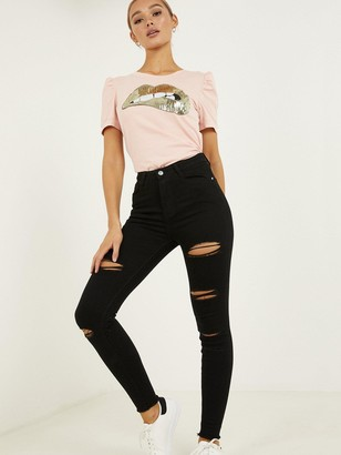 Quiz Denim Ripped Skinny Jeans - Black