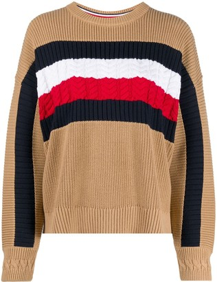 Tommy Hilfiger Colour-Block Cable Knit Jumper