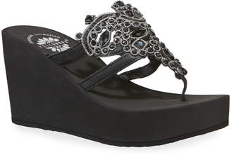 Kara Jeweled Leather Wedge Thong Sandals