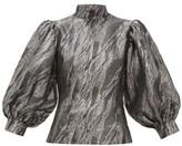 Ganni Balloon-sleeved Jacquard Top - Womens - Silver