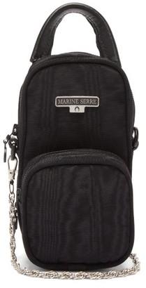 Marine Serre Logo-plaque Moire-leather Cross-body Bag - Womens - Black