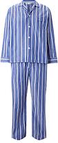 Derek Rose Stripe Woven Cotton Pyjamas, White/blue