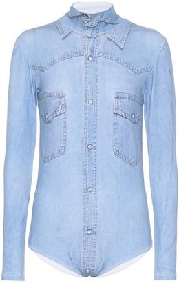 Vetements Printed cotton-blend bodysuit