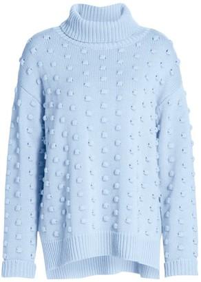 Lela Rose Dotted Cashmere & Wool Turtleneck Sweater
