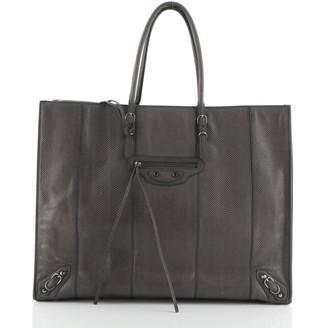 Balenciaga Papier A4 Zip Around Classic Studs Bag Embossed Leather Medium