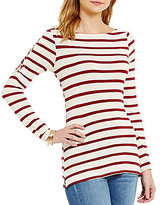 Jessica Simpson Darby Lace-up Shoulder Striped Fitted Top
