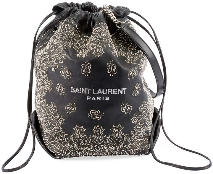 Saint Laurent Teddy Large Bandana Studded Drawstring Bucket Bag