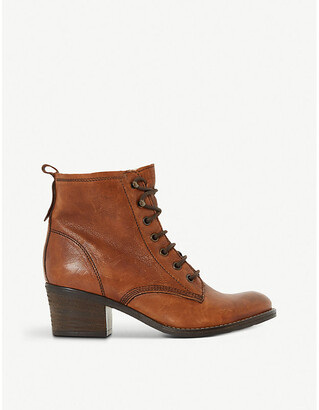 Dune Ladies Tan Stylish Leather Lace Up Patsie Ankle Boots