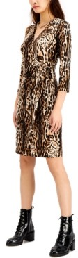 INC International Concepts Inc Animal-Print Faux-Wrap Dress, Created for Macy's
