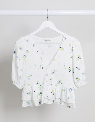 Miss Selfridge button front tea blouse in white and blue floral