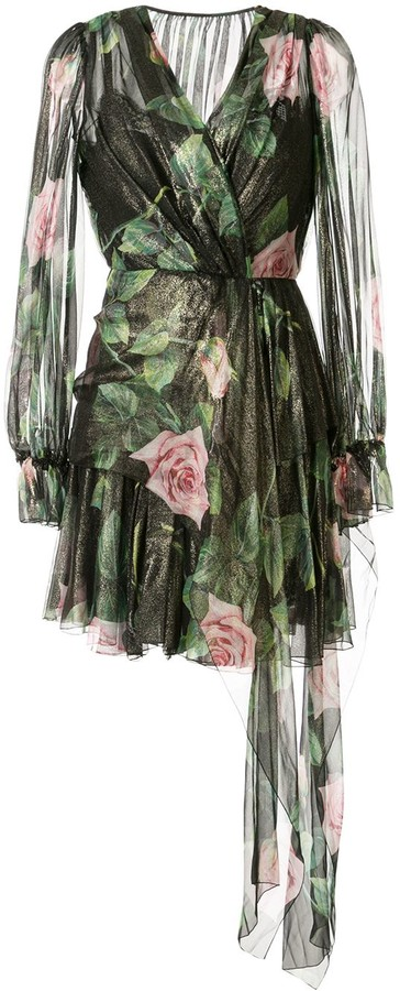 Dolce & Gabbana chiffon rose print dress