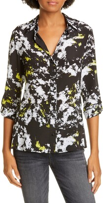 Alice + Olivia Cal Button-Up Silk Shirt
