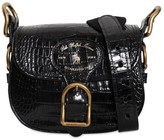 Polo Ralph Lauren CROC EMBOSSED LEATHER SHOULDER BAG