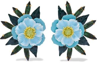 Elizabeth Cole Phoenix 24-karat Gold-plated, Swarovski Crystal And Enamel Earrings