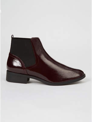 George Burgundy Patent Chelsea Boots