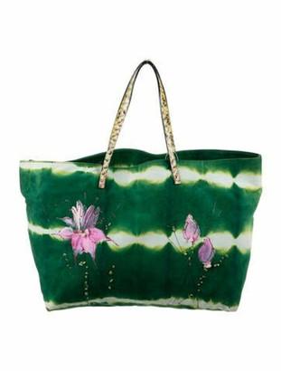Fendi Python-Trimmed Suede Shopper Green