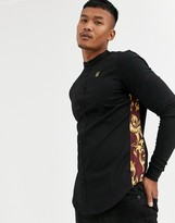 SikSilk muscle fit long sleeve shirt in black with side print