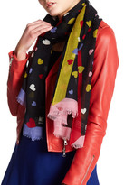 Moschino Wool Blend Colorblock Heart Scarf