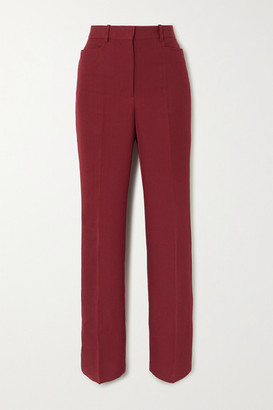 Victoria Beckham Canvas Straight-leg Pants - Burgundy